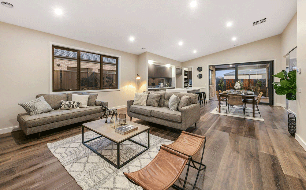 Living area of the Derwent display home